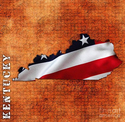 Kentucky American Flag State Map Print by Marvin Blaine