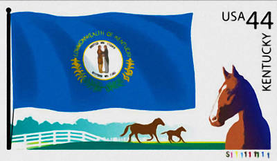 Background Painting - Kentucky Flag by Lanjee Chee