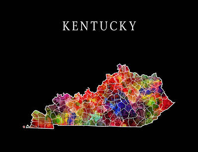 Mississippi State Map Digital Art - Kentucky State by Daniel Hagerman