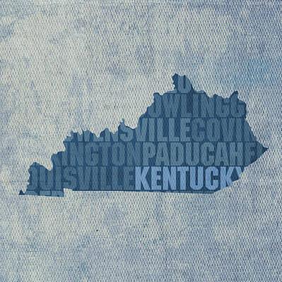 Kentucky Mixed Media - Kentucky Word Art State Map On Canvas by Design Turnpike