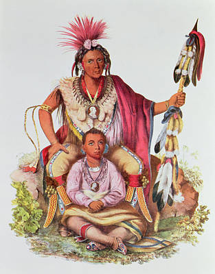 Headdress Photograph - Keokuk Or Watchful Fox, Chief Of The Sauks And Foxes, And His Son, Musewont Or Long-haired Fox by Charles Bird King