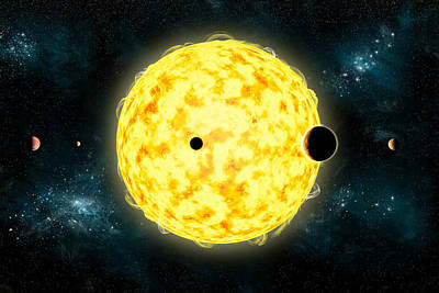 Planetary System Mixed Media - Kepler 444 by Marc Ward
