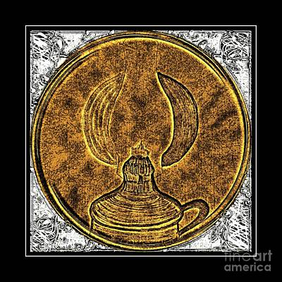 Brass Etching Photograph - Kerosene Lamp - Brass Etching by Barbara Griffin