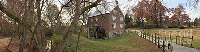 Kerr County Photograph - Kerr Grist Mill Landscape Panorama by Adam Jewell