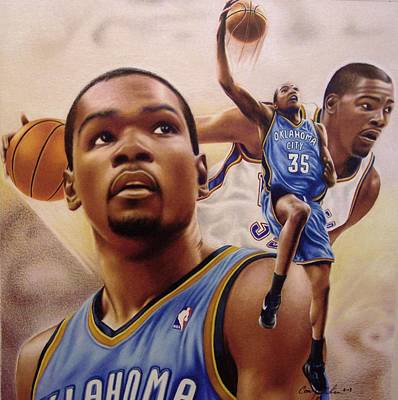 Thunder Drawing - Kevin Durant by Cory McKee