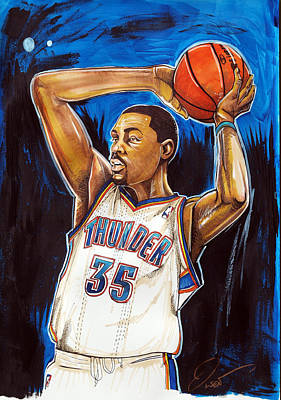 Thunder Drawing - Kevin Durant by Dave Olsen