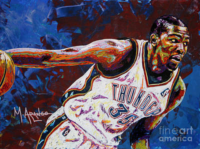 Basketball Painting - Kevin Durant by Maria Arango