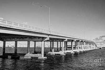 Key Biscayne Bridge Bw Print by Eyzen M Kim
