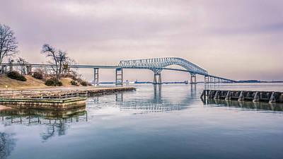 Key Bridge In Winter Print by Rob Sellers