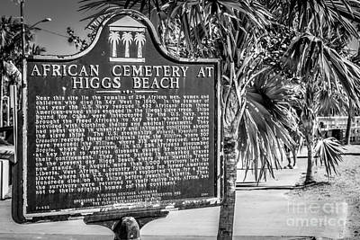 Key West African Cemetery Sign Landscape - Key West - Black And White Print by Ian Monk