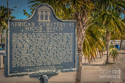 Key West African Cemetery Sign Landscape - Key West - Hdr Style Print by Ian Monk