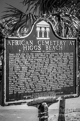 Key West African Cemetery Sign Portrait - Key West - Black And W Print by Ian Monk