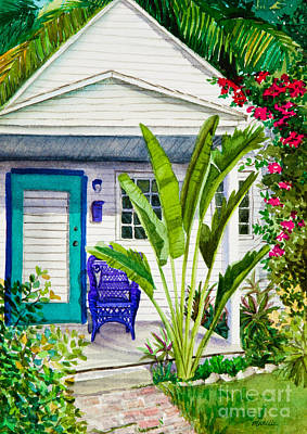 Keys Painting - Key West Cottage Watercolor by Michelle Wiarda