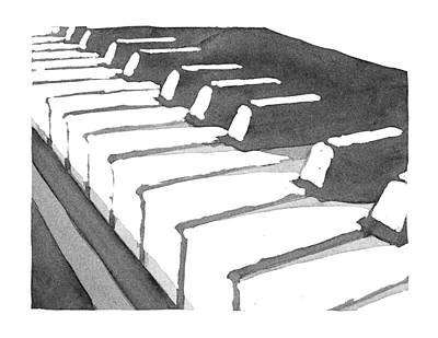 Wash Drawing - Keyboard by Calvin Durham