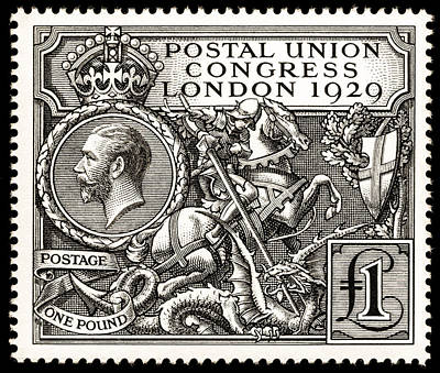 Stamps Drawing - Kgv Postal Union Congress 1929 1 Pound Postage Stamp by Harold Nelson and JAC Harrison