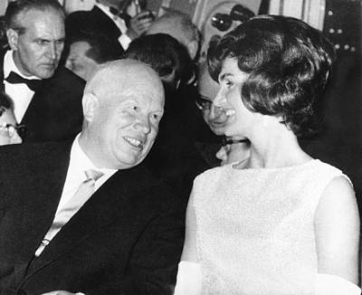 Khrushchev And Jackie Kennedy Print by Underwood Archives