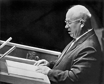 Nikita Photograph - Khrushchev At United Nations by Underwood Archives