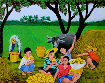 Tree Traditional Art Painting - Kids Eating Mangoes by Cyril Maza