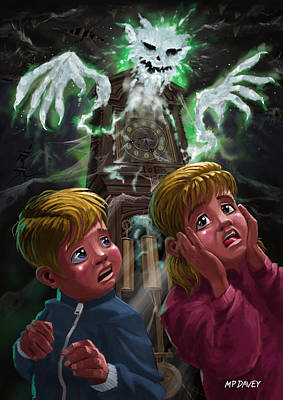 Kids With Haunted Grandfather Clock Ghost Print by Martin Davey