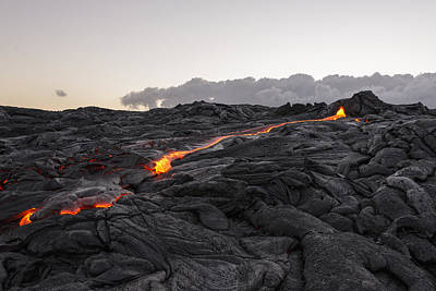 Sightseeing Photograph - Kilauea Volcano 60 Foot Lava Flow - The Big Island Hawaii by Brian Harig