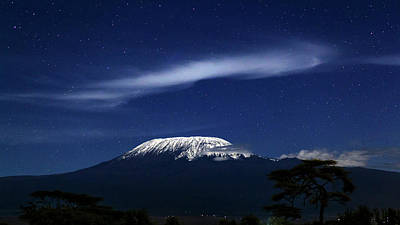 Snowy Night Photograph - Kilimanjaro In Moonlight by Babak Tafreshi
