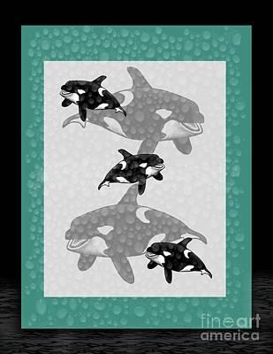 Whale Mixed Media - Killer Whales by Karen Sheltrown