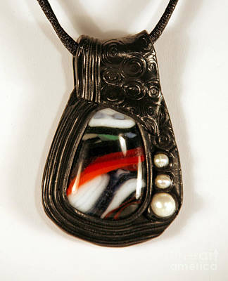 Kilnformed Glass Polymer Clay And Pearl Pendant Original by P Russell