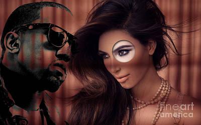 Kim And Kanye Print by Marvin Blaine