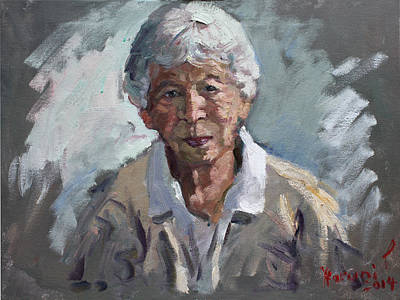Old Woman Painting - Kind Lady by Ylli Haruni