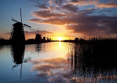 Kinderdijk Sunrise Print by Dave Bowman