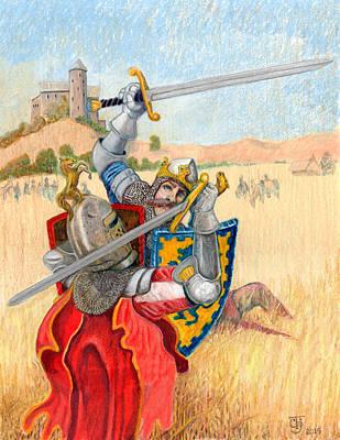 King Arthur Challenges Sir Lance-a-lot Print by Todd Hatchett