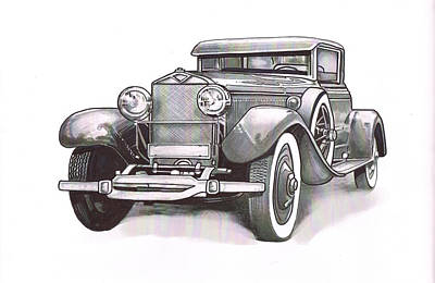 Street Rod Drawing - King Gramps-097 by Keith Spence