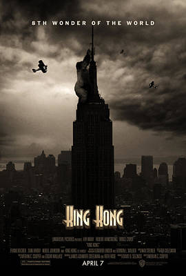 Empire State Digital Art - King Kong Custom Poster by Jeff Bell