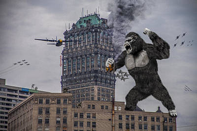 Fox Digital Art - King Kong In Detroit At Wurlitzer by Nicholas  Grunas