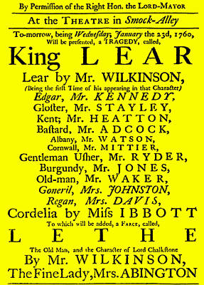 Stratford Mixed Media - King Lear Playbill by Charlie Ross