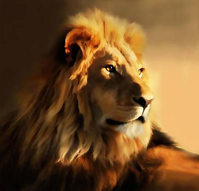 Strength Digital Art - King Lion Of Africa by Georgiana Romanovna