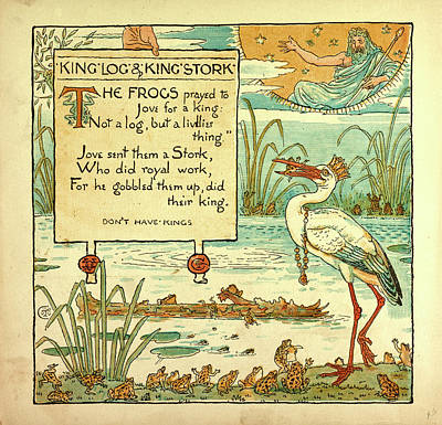 Stork Drawing - King Log And Kings Stork by English School
