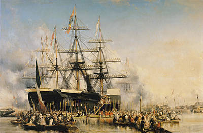 Water Vessels Painting - King Louis-philippe Disembarking At Portsmouth by Louis Eugene Gabriel Isabey