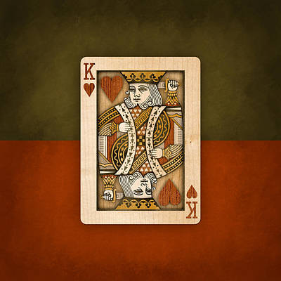 Man Cave Digital Art - King Of Hearts In Wood by YoPedro