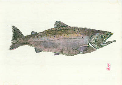 Salmon Mixed Media - King Salmon Gyotaku by Julia Tinker