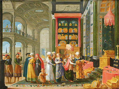 King Solomon And The Queen Of Sheba Oil On Copper Print by Adriaen van Stalbemt