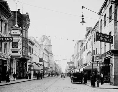 Storefront Photograph - King Street In Charleston South Carolina Circa 1910 by Mountain Dreams