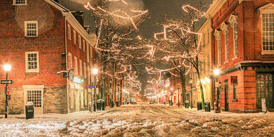 Snowy Night Photograph - King Street by JC Findley