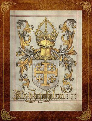 Coat Of Arms Digital Art - Kingdom Of Jerusalem Medieval Coat Of Arms  by Serge Averbukh