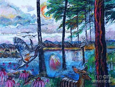 Kingfisher Drawing - Kingfisher And Deer In Landscape by Stan Esson