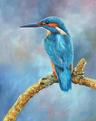Bird Art Painting - Kingfisher by David Stribbling