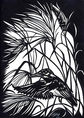 Kingfisher Mixed Media - Kingfisher Paper Cut by Alfred Ng