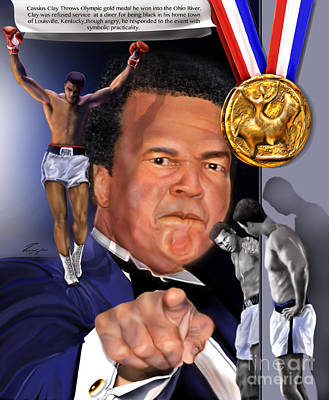 Boxer Painting - Kings Among Men - Ali - The Greatest Love by Reggie Duffie