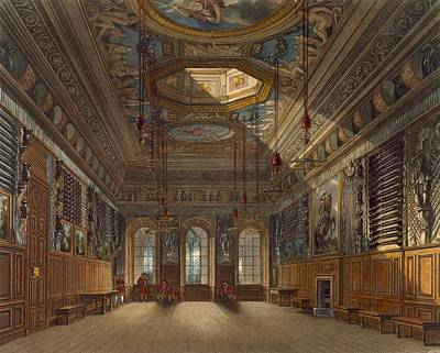 Panel Drawing - Kings Guard Chamber, Windsor Castle by Charles Wild