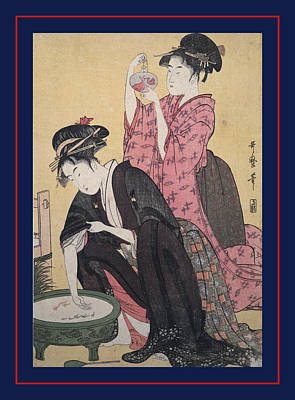 Kingyo = Goldfish, Kitagawa, Utamaro 1753-1806 Print by Artokoloro
